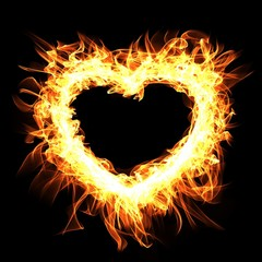 Fire frame on black background.Abstract heart. Digital illustration.