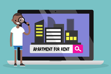 Looking for an apartment for rent. Young black man looking through a magnifying glass. Flat editable vector illustration, clip art