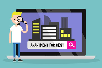 Looking for an apartment for rent. Young blond boy looking through a magnifying glass. Flat editable vector illustration, clip art