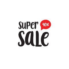 Super Sale black and red lettering