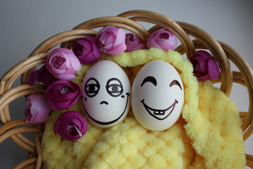 Eggs with a cute face. Photo