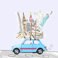 Around the world travel memories. Blue retro toy car with famous monuments on roof.