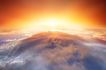 Wall Mural - Planet Earth with a spectacular sunset. .