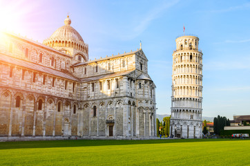 Sunset view of Leaning Tower of Pisa, Tuscany, Italy