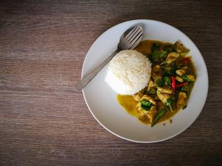 Thai green chicken curry with jasmine rice
