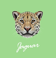 Vector Illustrated portrait of Jaguar