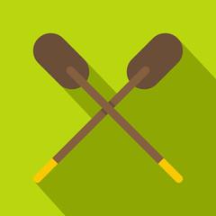 Two wooden crossed oars icon, flat style