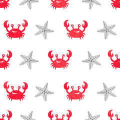 Seamless watercolor crab pattern. Vector illustration.