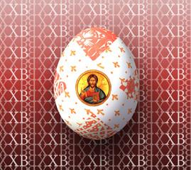 """Пасхальное яйцо с иконой на фоне букв """"ХВ"""""""