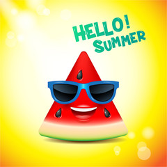 watermelon face, emojis,happy,summer,vector illustration