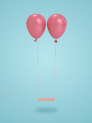 Pink balloons holding up swing