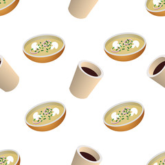 Vector seamless pattern with cup of coffee and plate of soup