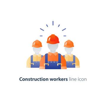 Labor workforce, construction workers group in helmet, three builders