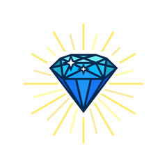 Modern diamond flat icon. Brilliant idea. Smart solutions. Flat vector design with lines