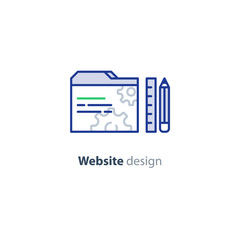 Website optimization services, design and development concept icon