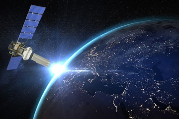 Composite image of vector image of3d modern solar satellite