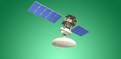 Composite image of low angle view of 3d solar satellite
