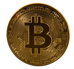 Single bitcoin macro image isolated against white