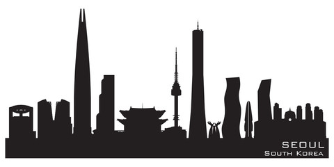 Seoul South Korea city skyline vector silhouette