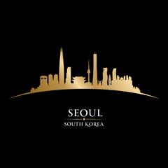 Seoul South Korea city skyline silhouette black background