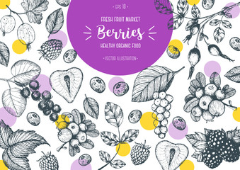 Berries hand drawn vector illustration frame. Healthy food design template with berries