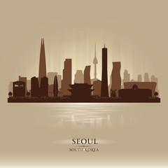 Seoul South Korea city skyline vector silhouette