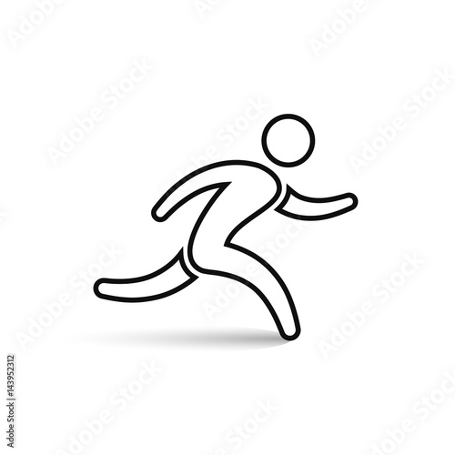 Running Man Outline Icon Vector Simple Run Symbol Stock Image And