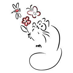 Cat holding a flower