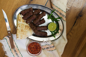 Kebabs - grilled meat, bread and vegetables