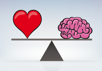 équilibre - Cœur - Cerveau - balance - amour - raison - émotion
