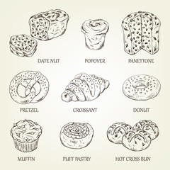 Graphic sketch of different pastry products. Vector illustration with realistic bread icons. Pastry silhouettes designed for advertising bakery, restaurant menu, logo or recipe book design.