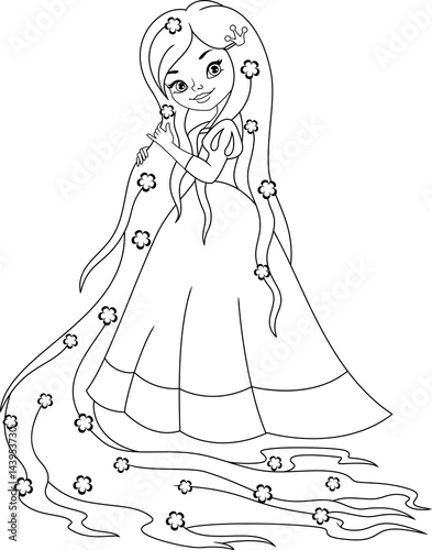 Quot Princess Rapunzel Coloring Page Quot Stock Image And Royalty