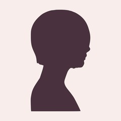 Face side view. Elegant silhouette of a female head. Vector Illustration. Short hair. Monochrome gamma.