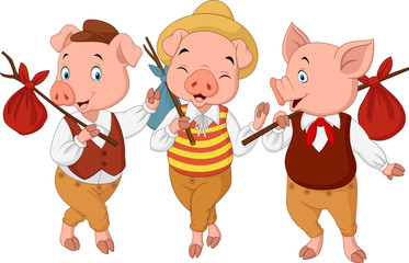 Cartoon three little pigs