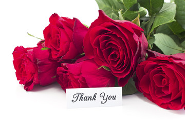 Thank You Card with Bouquet of Red Roses