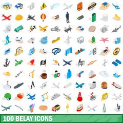 100 belay icons set, isometric 3d style