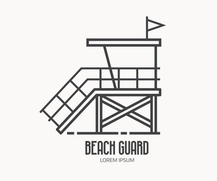 Beach lifeguard logo in thin line design. Beach guard house or tower logotype or label template. Baywatch hut vector linear illustration.
