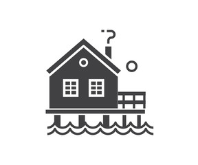Seaside stilt house icon in outline design. Beach bungalow logotype silhouette vector illustration. Wooden fisherman house logo or label template.