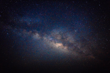 Milky Way galaxy in dark night, Long exposure photograph, with grain.Image contain certain grain or noise and soft focus.