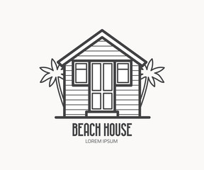 Summer bath house vector illustration. Beach house logo or label template in linear style. Travel agency logotype in thin line design. Beach hut outline icon.