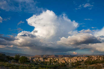 beautiful blue sky with stormy clouds background. Cappadokia