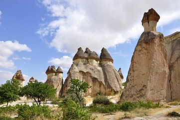 This area of fairy chimneys is very special and is located near Avanos in Turkey, Kapadokia.