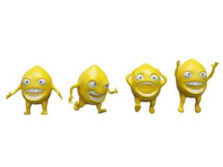 Lemon cartoon stylized characters. 3d render