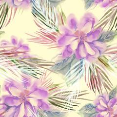 Fototapeta Floral Seamless Pattern. Watercolor Background.