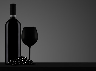 black wine bottle with glass and grape
