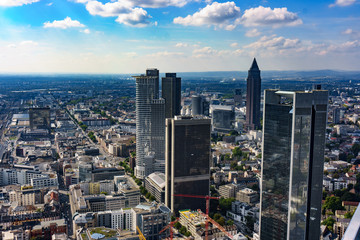 view to skyline of Frankfurt from Maintower in Frankfurt, Germany