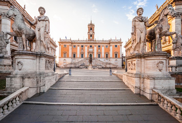 Capitolium Hill (Piazza del Campidoglio) in Rome, Italy. Rome architecture and landmark. Rome Capitolium is one of the main attractions of Rome, it was designed by Michelangelo