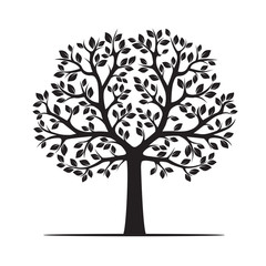 Black Tree with Leafs. Vector Illustration.