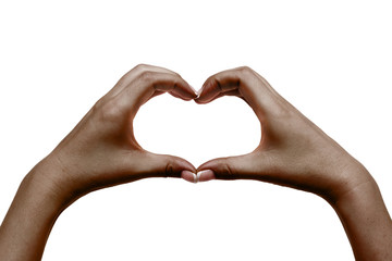 African female hands show heart on white background.