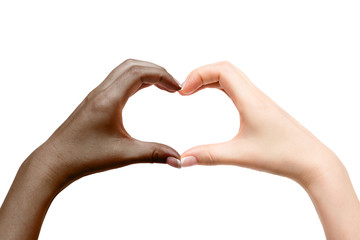 Female hands show heart on white background.